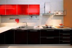Eigentijdse keukenteller Stock Foto's