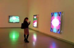 Eigentijdse kunsttentoonstelling in Kunsthalle Boedapest stock afbeeldingen