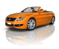 Eigentijdse Oranje Elegante Convertibele Auto Royalty-vrije Stock Foto's