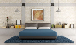 Eigentijdse slaapkamer in een zolder Stock Afbeeldingen