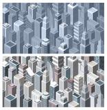 Eigentijdse stad met isometrische gebouwen vector illustratie