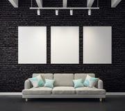 Eigentijdse woonkamer met lege affiche stock illustratie
