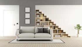 Woonkamer met houten trap en boekenkast stock illustratie - Afbeelding eigentijdse woonkamer ...