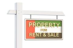 Eigentum für Verkauf und Miete in UAE-Konzept Real Estate unterzeichnen, 3D Lizenzfreie Stockfotografie