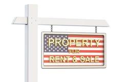 Eigentum für Verkauf und Miete in USA-Konzept Real Estate unterzeichnen, 3D Stockbild