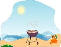 Eigentum picnic, auf Seeküste. lizenzfreie abbildung