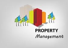 Eigentums-Managementkonzeptsymbol, errichtend mit Bäumen, Vektorillustration Stockfotografie