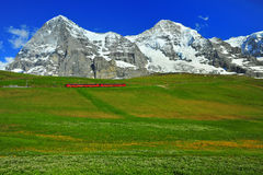 Eiger. Jungfraujoch mountain train line run in front of Eiger royalty free stock images