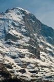 Eiger北部表面,在纵向 库存照片