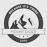 Eiger in Alps, Switzerland outdoor adventure logo. Round climbing vector insignia. Climbing, trekking, hiking, mountaineering and other extreme activities logo Royalty Free Stock Images