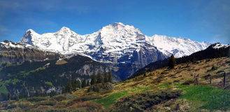 Eiger and Jungrau in the Swiss Alps Stock Image