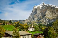 The Eiger looming over Grindelwald royalty free stock image