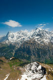 Eiger, Moench, Jungfrau. Eiger Moench and Jungfrau mountain peaks, view from Schilthorn, Switzerland royalty free stock photography