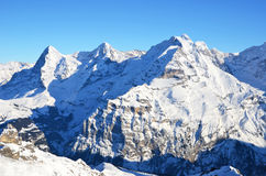 Eiger, Moench and Jungfrau, famous Swiss mountains. Eiger, Moench and Jungfrau, famous Swiss mountain peaks royalty free stock photos