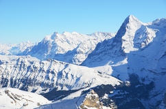 Eiger, Moench and Jungfrau, Swiss mountain peaks Royalty Free Stock Image