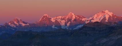 Eiger, Monch e Jungfrau al tramonto Fotografia Stock