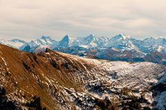Eiger, Monch and Jungfrau seen from Kaiseregg Peak, Swiss Alps and Prealps. Eiger, Monch and Jungfrau peaks seen from Kaiseregg Peak, Swiss Alps and Prealps royalty free stock image