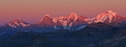 Eiger, Monch and Jungfrau at sunset Stock Photo