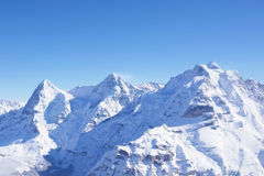 Eiger, Monch And Jungfrau in Winter. View in Winter from Schilthorn towards Eiger, Monch And Jungfrau stock photography