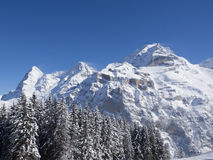 Eiger, Monch And Jungfrau in Winter. At Murren in Winter royalty free stock photos