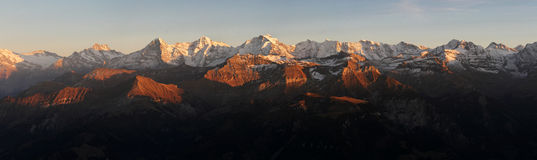 Eiger Monch and Jungfrau. Eiger, Monch and Jungrau on sunset in Switzerland royalty free stock photos