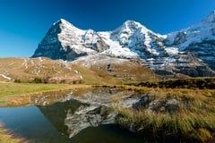 Eiger an Monch mountain panorama. From kleine Scheidegg, Grindelwald, Switzerland stock image