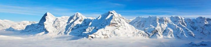Eiger, Monch och Jungfrau massiv Arkivfoto