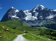 Eiger and Monch in Switzerland. Panorama with Eiger mountain (3970 m) and Monch (4107 m) mountain, Switzerland Alps stock image