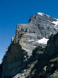 Eiger mountain in Alps. Panorama with Eiger (3970 m) mountain in Switzerland Alps. The Eiger is a mountain in the Swiss Alps (Bernese Oberland) with a high of stock photography