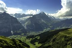 The Eiger Mountain in Switzerland. Image of the Eiger Mountain in the distance royalty free stock images