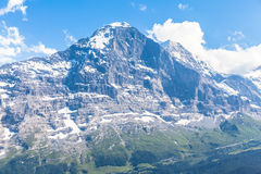 Eiger north face. View of the famous north face of Eiger, Switzerland royalty free stock photo