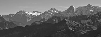 Eiger and other high mountains in the Bernese Oberland Royalty Free Stock Photo