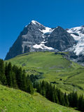 Eiger Switzerland landscape. Panorama with Eiger mountain (3970 m) in Switzerland Alps stock photo