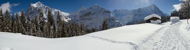 Eiger in winter stock photography