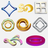 Eight 3D Logos. Created in Adobe Illustrator Stock Photography