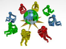 Eight 3d mans with globe Stock Photos