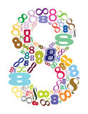 Eight. Number in color, vector mode Stock Photo