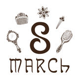 The eight 8 of march date. Royalty Free Stock Photo