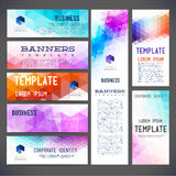 Eight abstract design banners vector template design Stock Image
