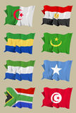 Eight African flags. Computer generated illustration of the flag of eight African countries: Algeria, Egypt, Gabon, Mauritania, Sierra Leone, Somalia, South Royalty Free Stock Image