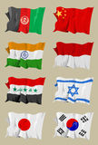 Eight Asian flags. Computer generated illustration of the flag of eight Asian countries. Afghanistan China India Indonesia Iraq Israel Japan South-Korea Stock Photos