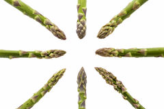 Eight Asparagus Spears Pointing at the Middle. Eight green asparagus spears aligned along the vertical, horizontal and both diagonal axes of the image. All tips Royalty Free Stock Images
