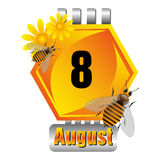 Eight August calendar sheet Royalty Free Stock Photos