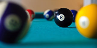 Eight Ball. The eight ball in a game of pool stock photo