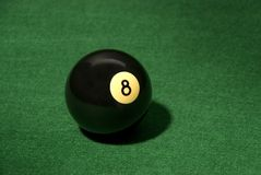 Eight ball. 8 on the green table Royalty Free Stock Photo