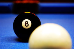 The Eight Ball. A colorful shot of a billiards setup on blue felt Royalty Free Stock Photo