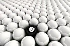 Eight ball. Surrounded by white billiard balls royalty free illustration