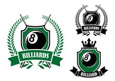 Eight ball billiards or pool emblem. With crossed cues, black ball, crown and laurel wreath Stock Photo