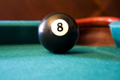 Eight Ball on Billiards Table Royalty Free Stock Images