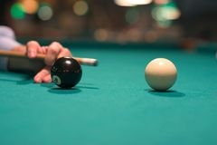 Eight Ball Black Ball. Black and white pool balls stock images